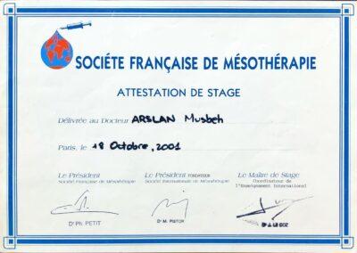 Société Française de Mésothérapie Attestation de Stage